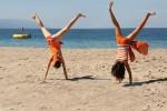 Girls doing cartwheel