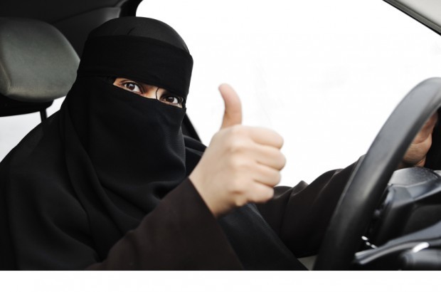 woman driving with hijab