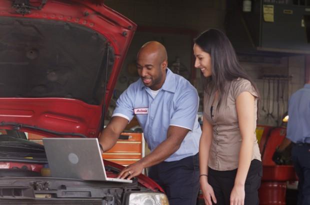 Woman with mechanic